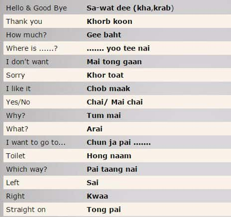 Top 100 basic Thai Phrases to know - Inspitrip Blog