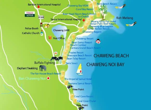 Chaweng Accommodation Beach Resort Hotel Deals Map Thailand