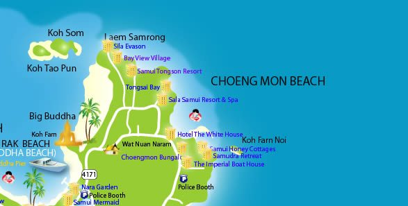 Choeng Mon Beach map
