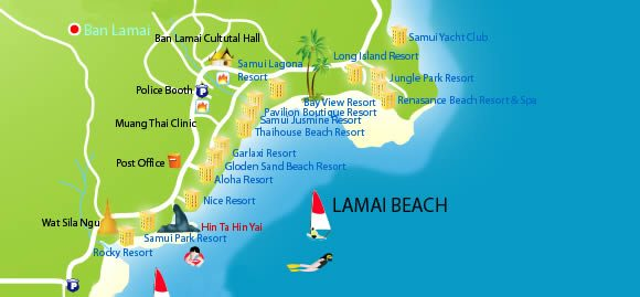 Lamai Beach map