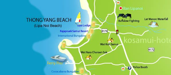 Lipa Noi Beach map