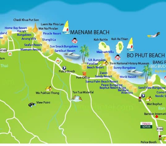 maenam beach map