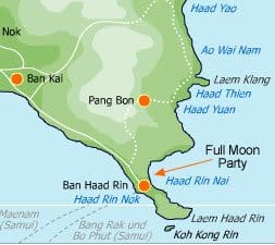 Koh Phangan Full Moon Party map 1