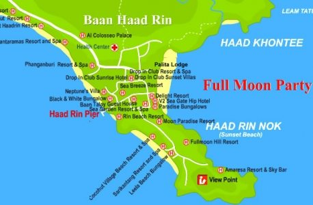 Koh Phangan Full Moon Party map 2